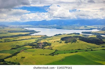 liptov panorama on liptovska mara water lake reservoir and low tatras