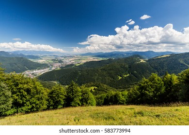 The Liptov region area overlook from Tlsta Hora Mountain in the Cutkovska Dolina Valley near Ruzomberok in Slovakia