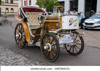 Liptovsky Mikulas, Slovakia - 24  August 2019:  Dora 1906, early electric car built in 1906 in Genova, Italy on display during classic car show. Free entry to public, no photo restriction