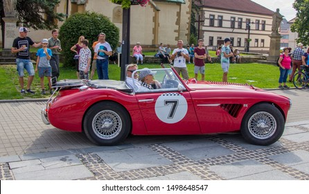 Liptovsky Mikulas, Slovakia -  24 August 2019: Red refurbished Austin-Healey 3000 at Oldtimer Rallye Tatry, classic car meet, no entry fee