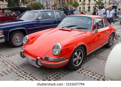 Liptovsky Mikulas, Slovakia -  24 August 2019: Porsche 911 T at Oldtimer Rallye Tatry, classic car meet, no entry fee
