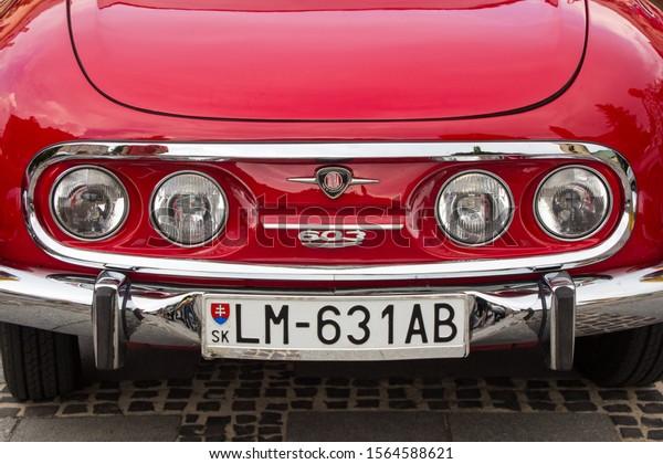 Liptovsky Mikulas, Slovakia - 24 August 2019: Front grill of red Tatra 603
