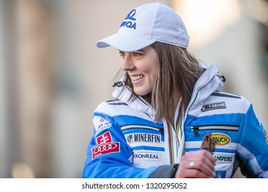 Liptovsky Mikulas, Slovakia. February 22. 2019. Petra Vlhova world champion from Åre - Sweden on welcome ceremony in hometown.