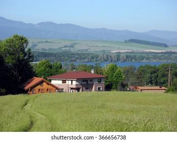 Liptovsky Mikulas, Slovakia, June 5, 2015: The village Liptovsky Mikulas about Tatra Mountains.