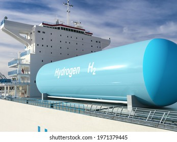 Liqiud Hydrogen renewable energy in vessel - LH2 hydrogen gas for clean sea transportation on container ship with composite cryotank for cryogenic gases. 3d rendering. - Shutterstock ID 1971379445