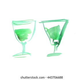 liqueur glass with absent. watercolor painting on white background