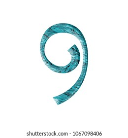 Liquid blue water number nine 9 in a 3D illustration with a crisp blue pool or ocean water wavy surface texture and fun curly font on white with clipping path