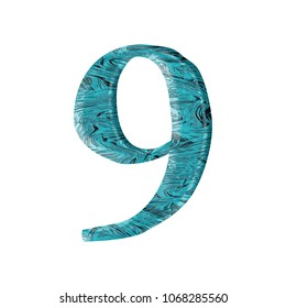 Liquid blue water number nine 9 in a 3D illustration with a crisp blue pool or ocean water wavy surface texture and elegant loose edge font on white with clipping path
