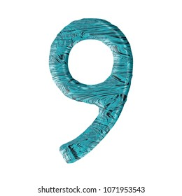 Liquid blue water number nine 9 in a 3D illustration with a crisp blue pool or ocean water wavy surface texture and rustic font on white with clipping path