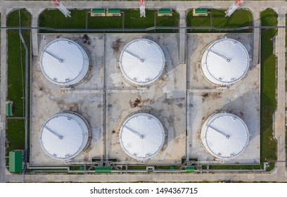 Liquid chemical tank terminal, Storage of liquid chemical and petrochemical products tank, Aerial view