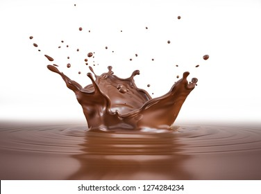 Liquid chocolate crown splash. In a liquid chocolate pool. With circle ripples. Side view, isolated on white background.
