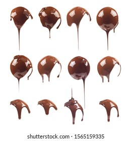 Liquid chocolate on the shape of a ball. Sweet dark ñhocolate drips. Melted chocolate coating. Ganache, icing, frosting, sauce. Chocolate set isolated on a white background.