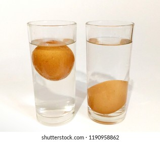 Liquid density. Experiment with saline solution To increase the density of the liquid. Eggs are floating.