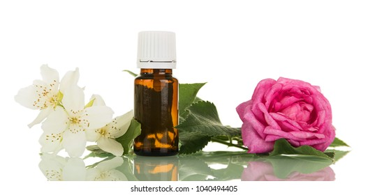 Liquid with floral fragrance for Smoking electronic cigarette, isolated on white