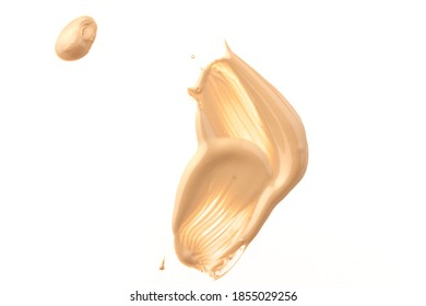liquid foundation paint strokes isolated on white. Cosmetic makeup foundation isolated on white background, tone cream smudged, concealer. Smear stroke.