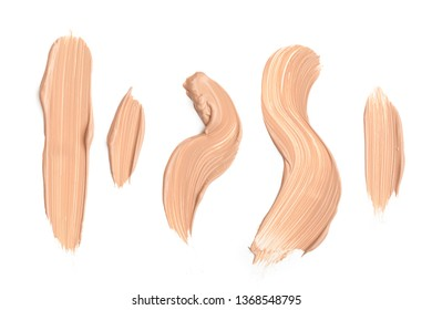 Liquid foundation strokes isolated on white background