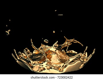 Liquid gold or oil splashes isolated on black. 3d render, 3d illustration