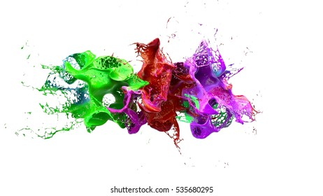 liquid ink colourful eplosion. 3d illustration