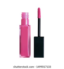 Liquid lipstick open tube and applicator wand isolated on white backgrpund. Hot pink lip gloss