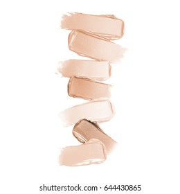 Liquid Lipstick Smear Isolated on White Background. Brown Foundation Smudge. Beige Makeup Smear. Cosmetic Strokes. Grooming Products