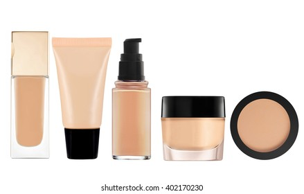 liquid makeup foundation in bottle and face powder isolated on white background