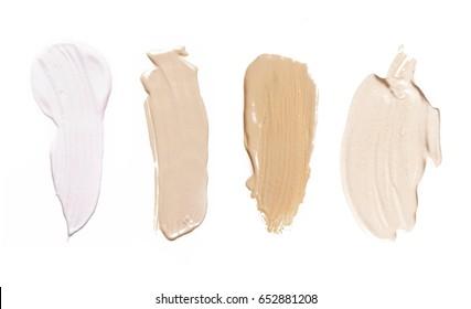 Liquid makeup foundations/blush on white background
