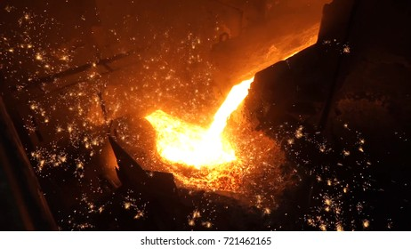 Liquid metal from blast furnace. Liquid iron from ladle in the steelworks