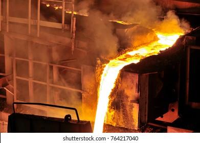 Liquid metal from blast furnace in steel plant