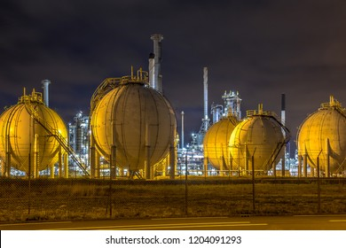 Liquid Natural Gas globe containers in Europoort industrial area location Botlek in Port of Rotterdam