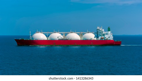 A Liquid Natural Gas tanker in the Singapore Straits in Asia in summertime