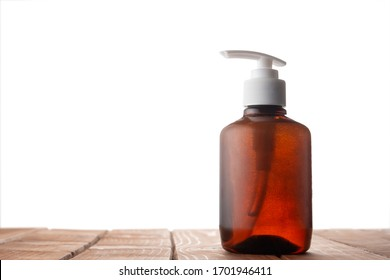 Liquid soap on the table with isolated background