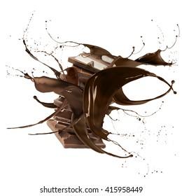 liquid splash chocolate around stack of chocolate blocks, isolated on white