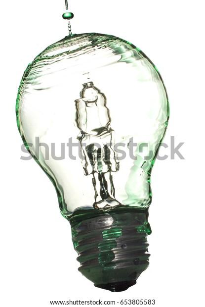 Liquid splashing onto light bulb