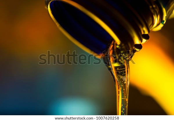 Liquid Stream Motor Oil Flows Neck Stock Photo (Edit Now