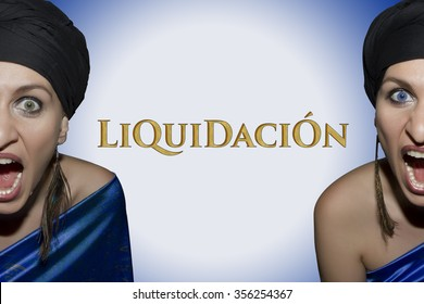 Liquidacion is Sales in Spanish language. Screaming girl in a blue dress advertising the beginning of sales and discount period.