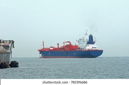 A Liquified Nature Gas Carrier launched in 2010 and designed to also carry chemical gases sits empty outside of the Pacific Coast entry to the Panama Canal.