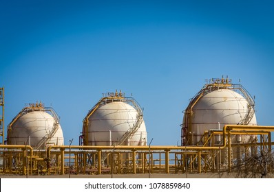Liquified Petroleum Gas Spheres in Oil and Gas Process Plant in Egypt.