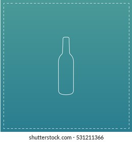 Liquor bottle. White outline simple pictogram on blue background. Line icon