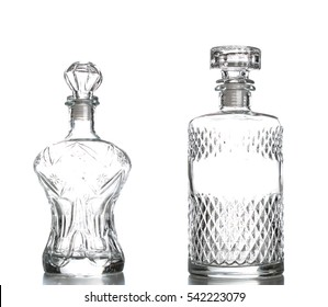 Liquor decanter made of glass isolated on white background,Crystal decanter.