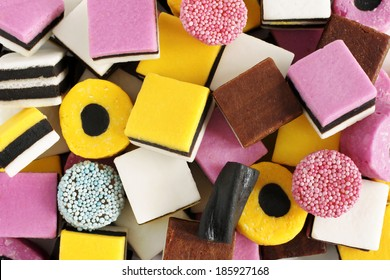 Liquorice allsorts fondant and licorice sweets or candy