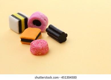Liquorice Allsorts or Licorice Allsorts on a plain background