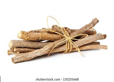 Liquorice roots isolated on white background