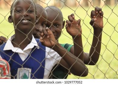 Lira, Uganda - 03/25/2016: Happy kids in Kampala.