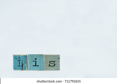 Lis. Wooden letters on white background