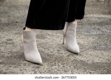 Lisa Banholzer is pictured after the Marina Hoermanseder fashion show during the Mercedes-Benz Fashion Week Berlin Autumn/Winter 2016 in Berlin, Germany on January 21, 2016. Dait of the shoes