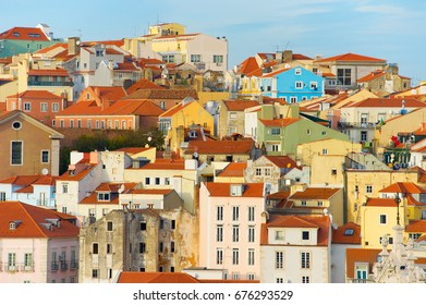 Lisabon Old Town buildings at sunset. Portugal
