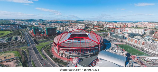 Lisabon / Portugal - March 2020: Estadio da Luz, the home stadium of SL Benfica is getting ready for Euroleage game.