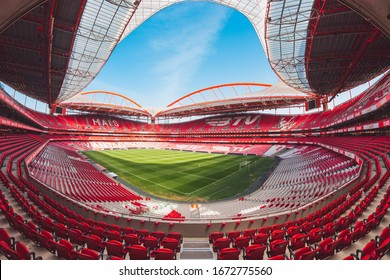 Lisabon / Portugal - March 2020: Estadio da Luz, the home stadium of SL Benfica is getting ready for new match day