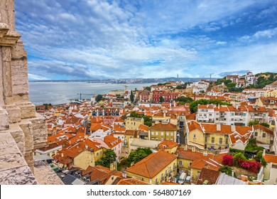 Lisboa city view, Tagus river panorama, Portugal