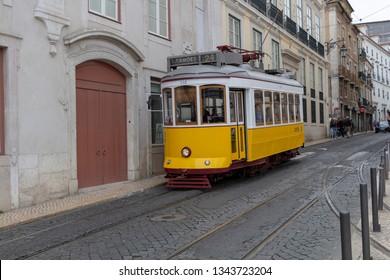 Lisboa, Lisbon, Portugal - March 17 2019 - A tram in the streets of Lisbon